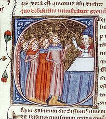 Una escena que muestra a los monjes, desfigurados por la plaga, siendo bendecidos por un sacerdote. Inglaterra, 1360-1375.