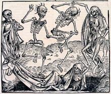 Inspirada por la Peste Negra, La Danza de la Muerte es una alegoría sobre la universalidad de la muerte y un motivo frecuente en la pintura del último período medieval.