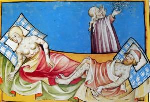 Ilustración de la Peste Negra de la Biblia Toggenburg (1411).